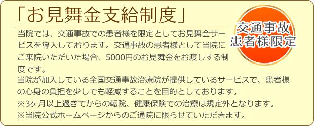 千葉市緑区おゆみ野、鎌取駅近くのセレネ整骨院鍼灸院は交通事故のお見舞金支給制度有